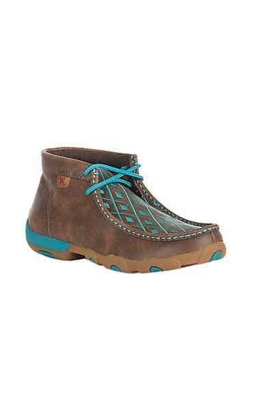 61cb7032dbee Twisted X Women s Brown with Turquoise Diamond Pattern Driving Moccasin
