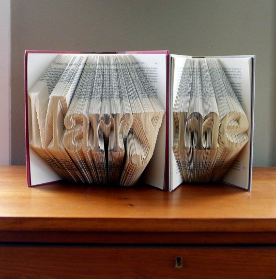 Marriage Proposal Will You Marry Me Engagement Folded Book Art Anniversary Gift