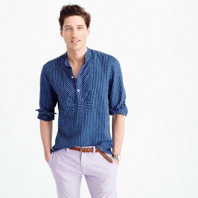 Wallace barnes irish linen band collar popover shirt for Irish linen dress shirts