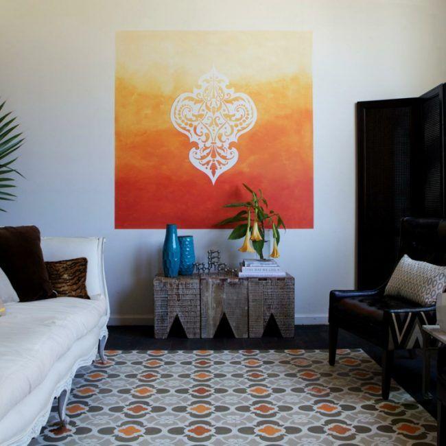 wohnzimmer wandgestaltung orange ombre akzent muster Basgal 2018 - wohnzimmer orange streichen