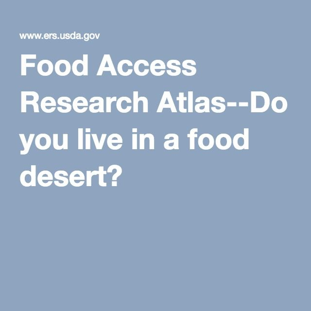 Food Access Research Atlas--Do you live in a food desert?