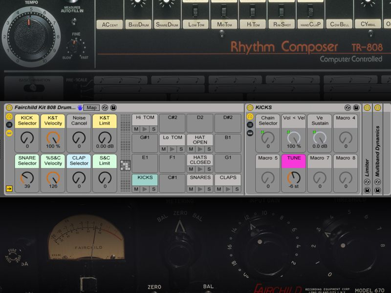 Fairchild 808 free ableton drums live rack by liveschool