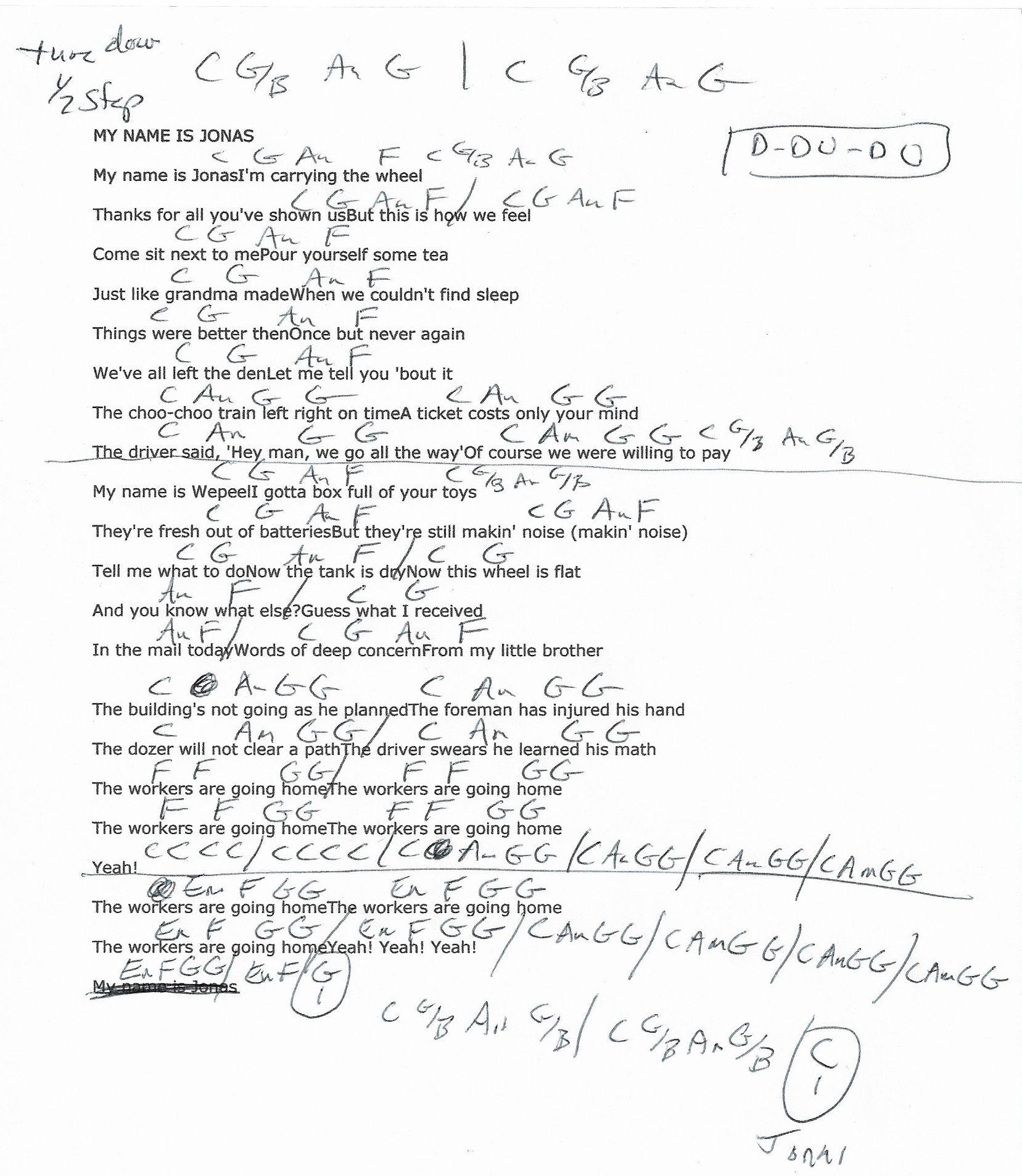 My Name Is Jonas Weezer Guitar Chord Chart Tune Down 12 Step
