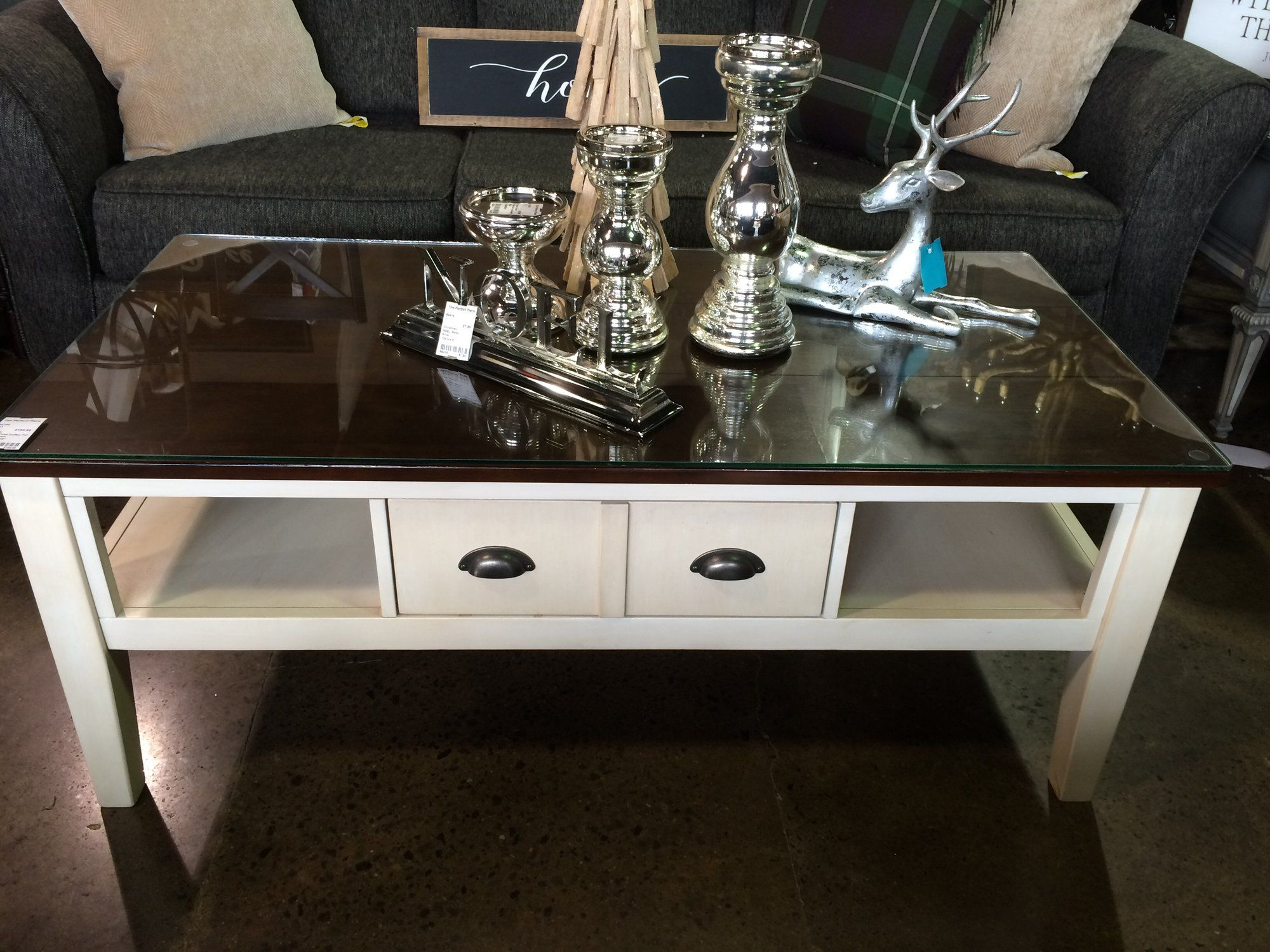 This Beautiful Two Tone Coffee Table Cream Dark Wood Has Two