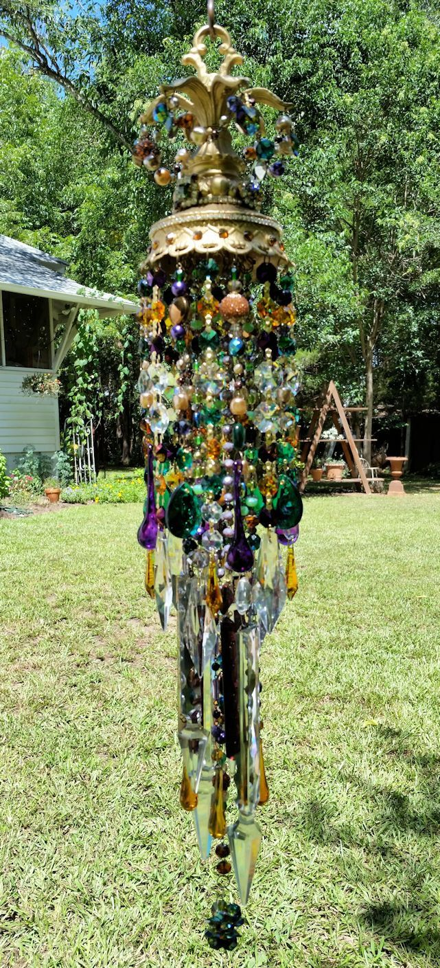 Golden Jeweled Antique Crystal Wind Chime. Regal Gypsy Boho Wind ...