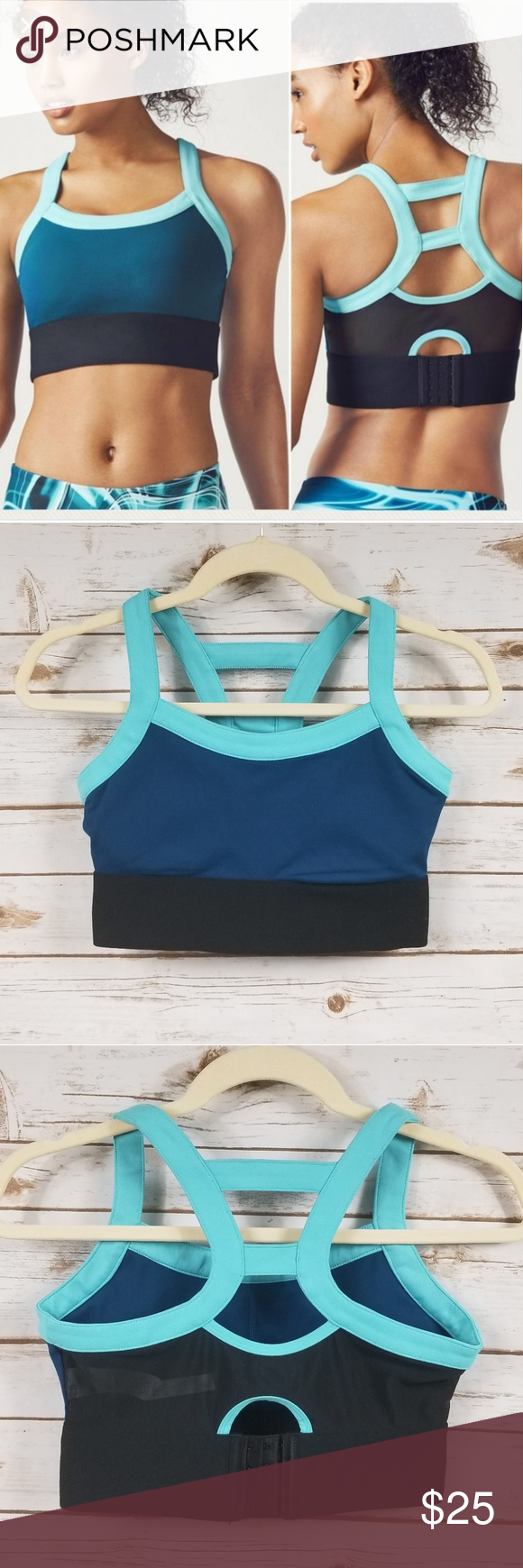 4c5916c2d6a94 Fabletics Robyn colorblock high support sports bra Fabletics Robyn teal and  black colorblock high support sports