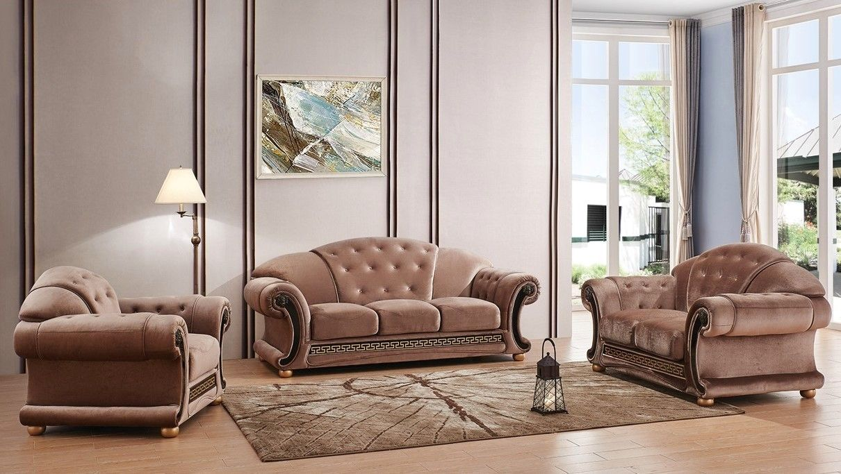 Versace Tufted Brown Fabric Sofa Loveseat Set With Carved Wood