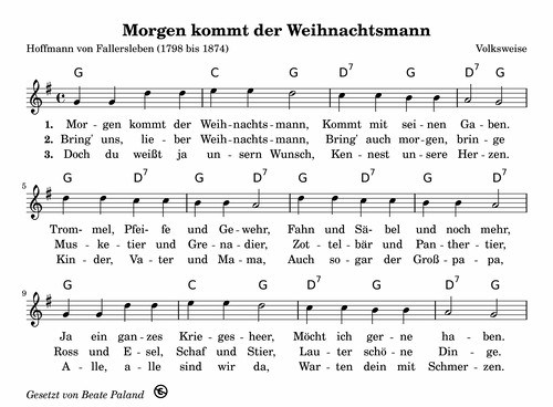 Morgen Kommt Der Weihnachtsmann Kinder Lied Weihnachtslieder Noten Kinderlieder
