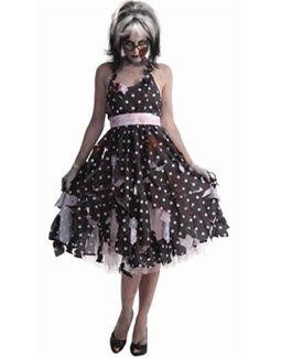 318e1c40276e Womens Zombie 50s Do Wop Sock Hop Housewife Costume