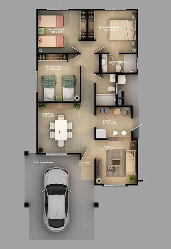 Photo of Planta de casa com 3 quartos e cozinha americana #casaspequeñas Planta de casa …
