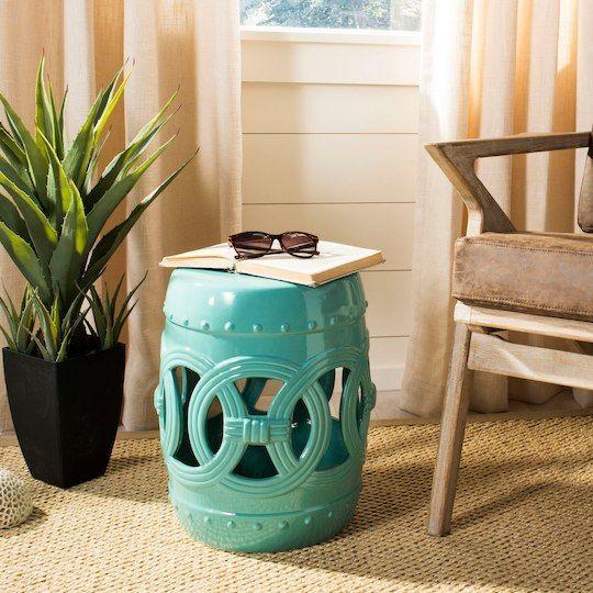 Safavieh Double Coin Garden Stool In Light Blue Ceramic