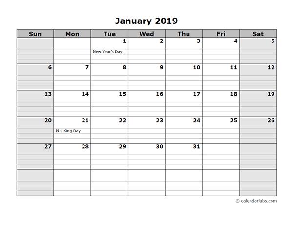 January 2019 Calendar Landscape With Planner 150 January 2019