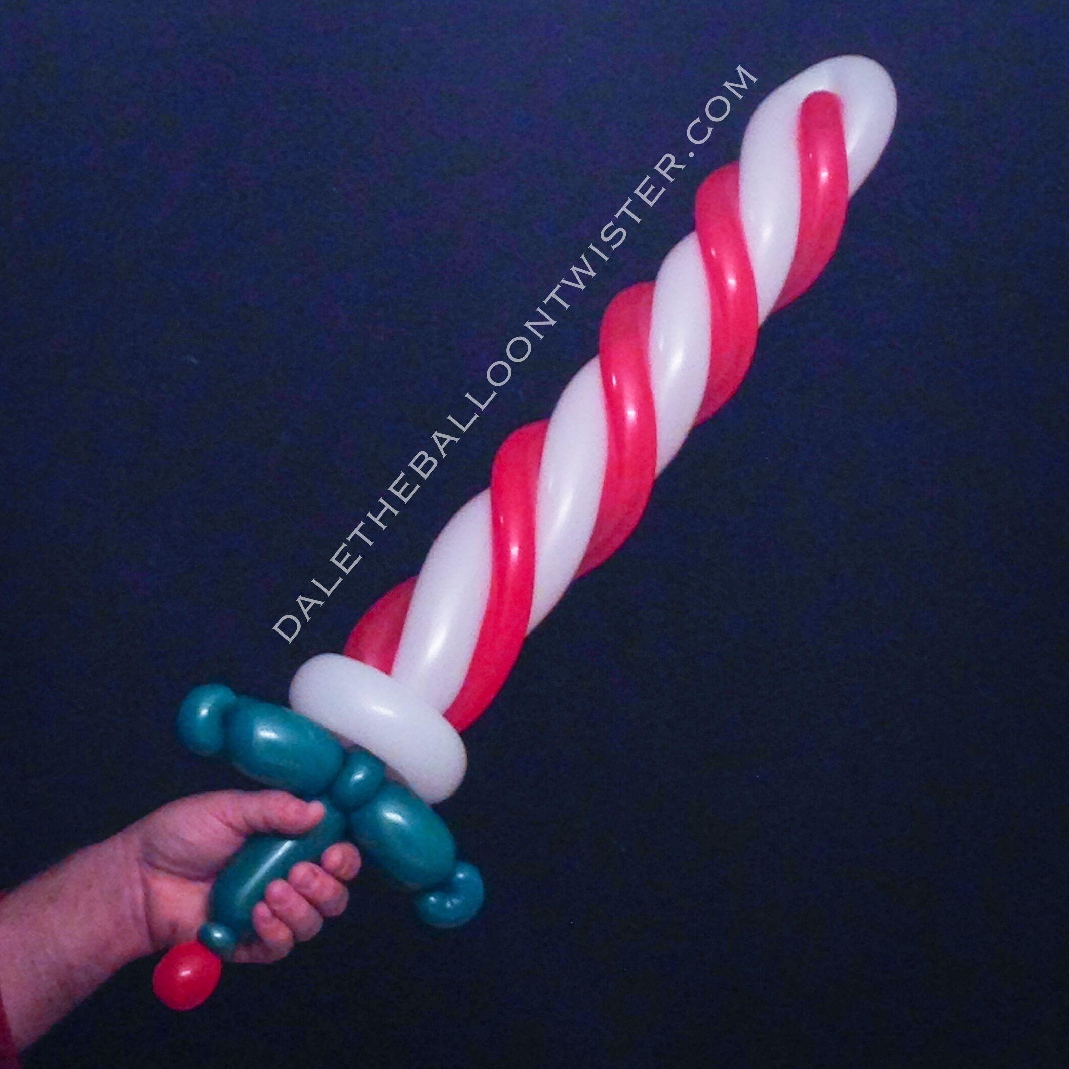 Peppermint candy balloon sword balloon sculptures for Candy cane balloon sculpture