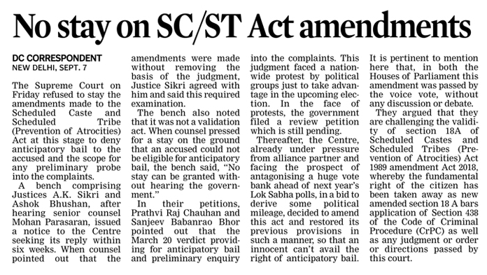 The Supreme Court Refused To Stay The Amended Scheduled Caste Scheduled Tribe Prevention Of Atrocities Act P Legal Services Legal Advice Houses Of Parliament