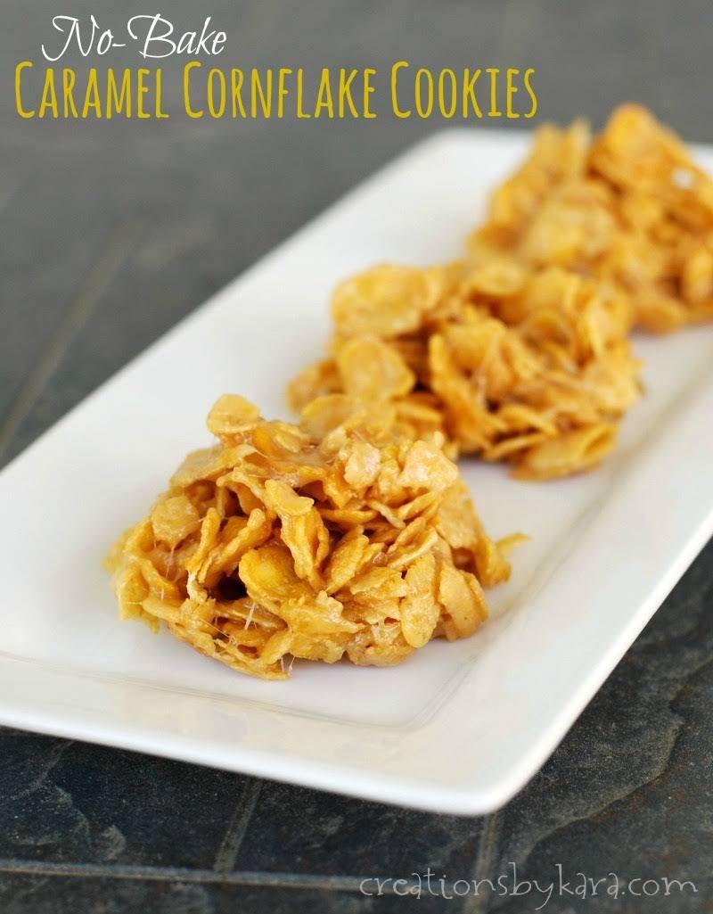 No Bake Caramel Cornflake Cookies Recipe Yummly Recipe Cornflake Cookies Baked Caramel Cornflake Cookies Recipe