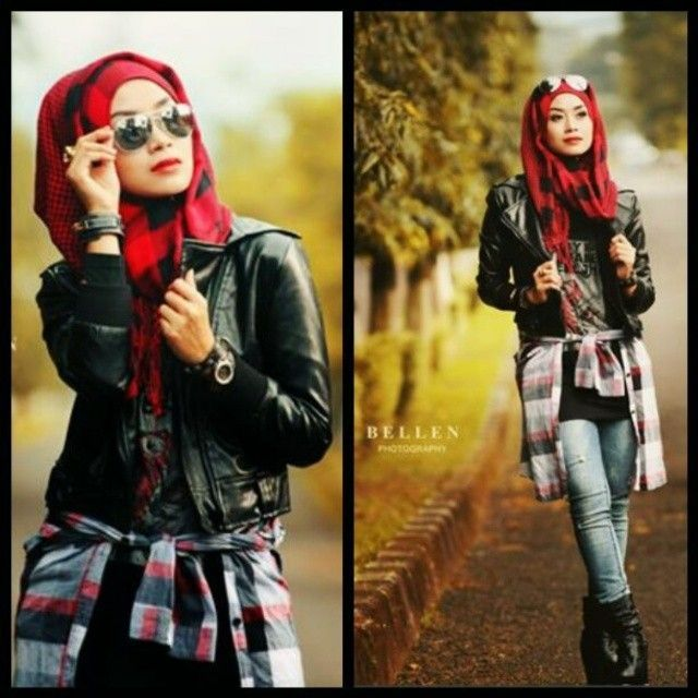 Hijab Outfit, Clothing Ideas, Grunge Rockstyle, Fashion Style, Hijab Styles,  Funky Hijab, Freestyle Girls