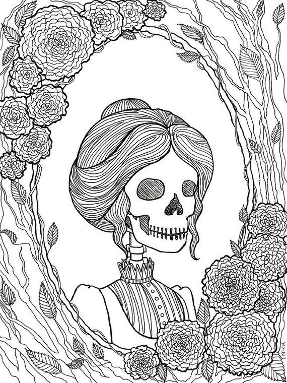 Pretty Dreadful Coloring Pages Halloween Coloring Book Creepy Art Skeleton Art Stea Halloween Coloring Book Steampunk Coloring Halloween Coloring Pages