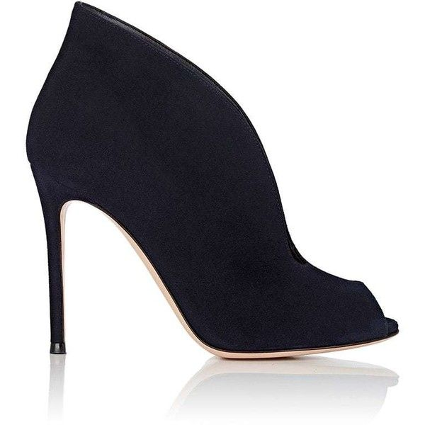 Gianvito Rossi Women's Vamp Suede Ankle Booties (56,130 INR) ❤ liked on Polyvore featuring shoes, boots, ankle booties, ankle boots, navy, cut out bootie, navy suede booties, suede ankle boots and suede booties