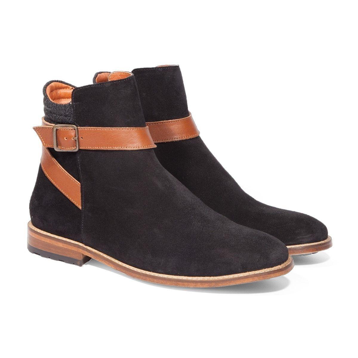 Chaussures en Daim noir - Bottines à Boucle - M. MOUSTACHE - Mode |  Conseils Mode