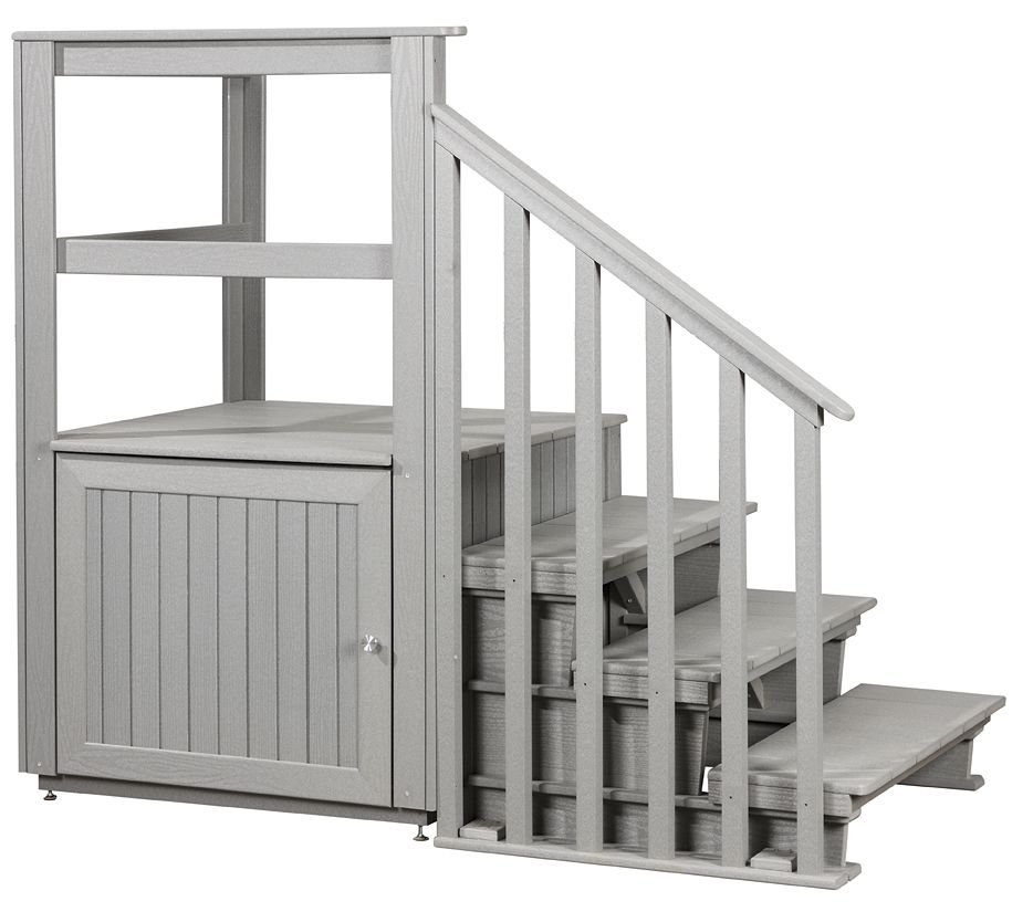 Swim Spa Side Entry With Storage, And 3 Tier Steps U0026 Handrail