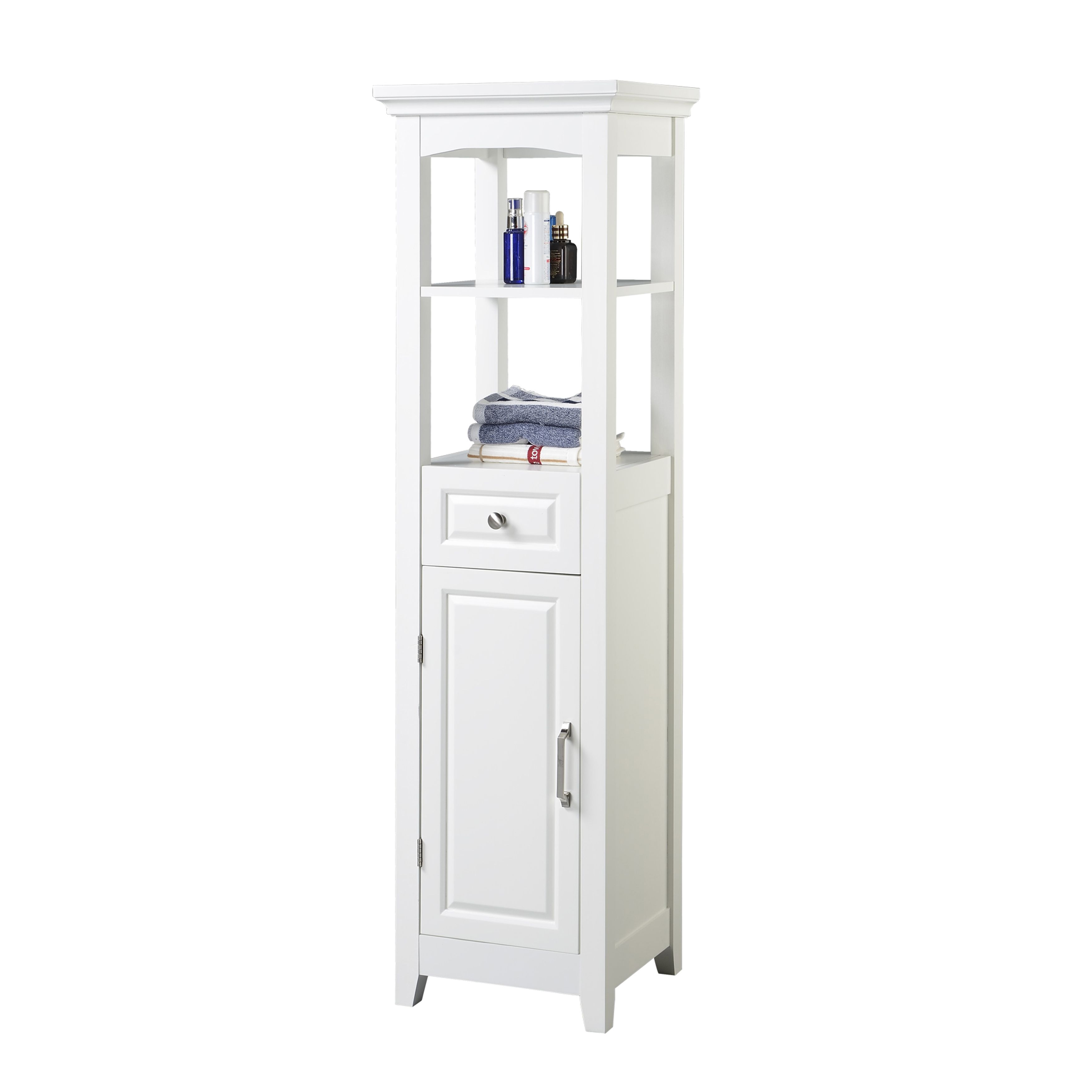 Chamber Collection White 4-shelf Bathroom Linen Tower - Overstock ...