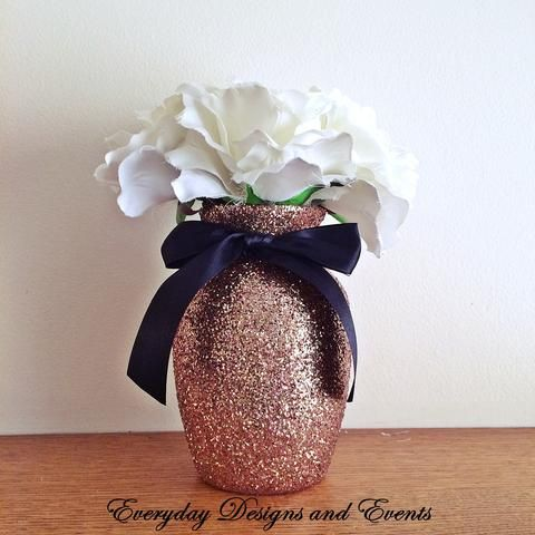 3 Rose Gold Glitter Vases With Black Satin Bows Wedding