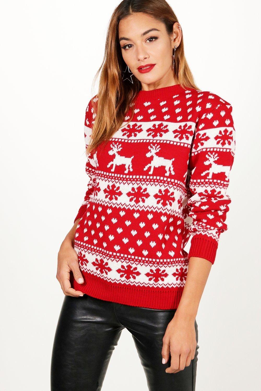Reindeers & Snowflake Christmas Sweater boohoo