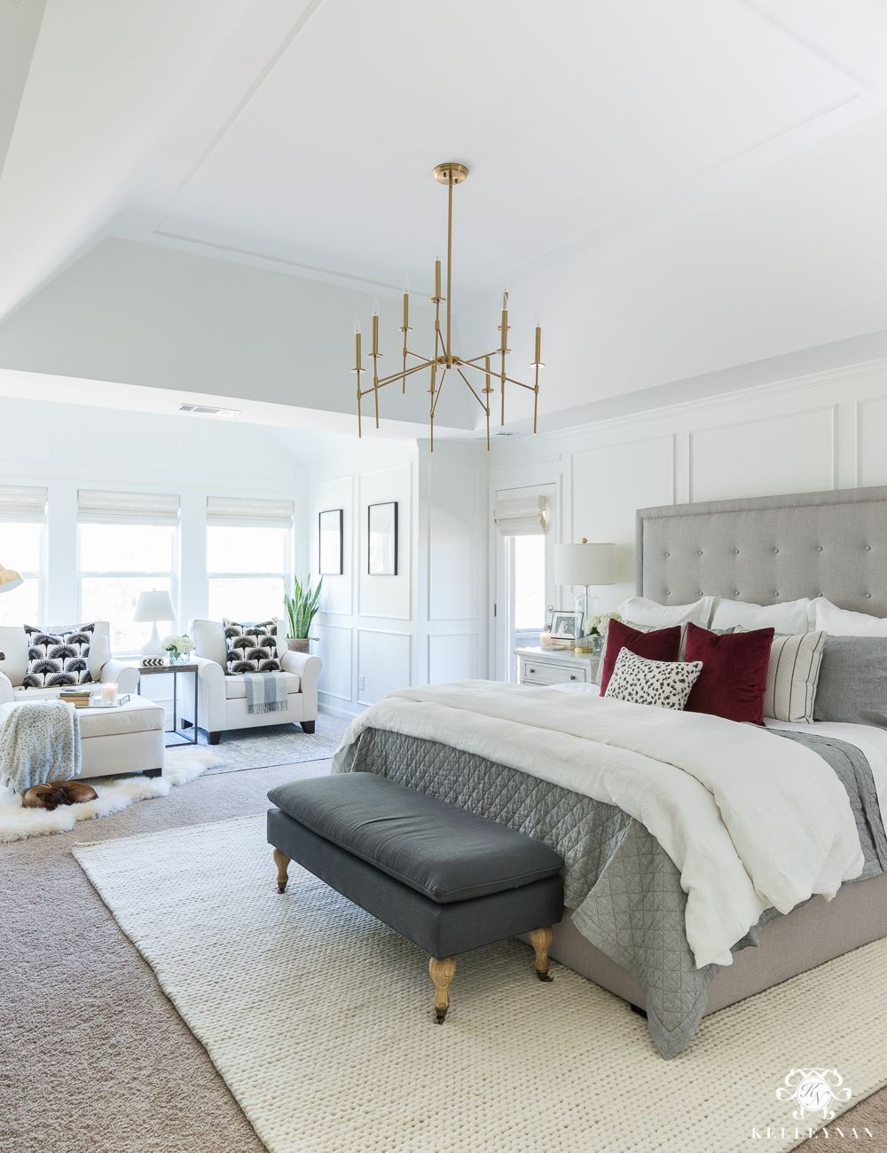 Bedroom Design Ideas With Gray Tufted Headboard Bedrooms In 2019 White Master Bedroom Master Bedroom Makeover Bedroom Inspirations