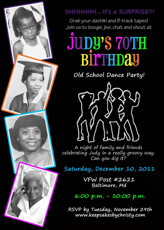 Custom Birthday Invitation Musical themed disco70sdance party – 70s Party Invitations