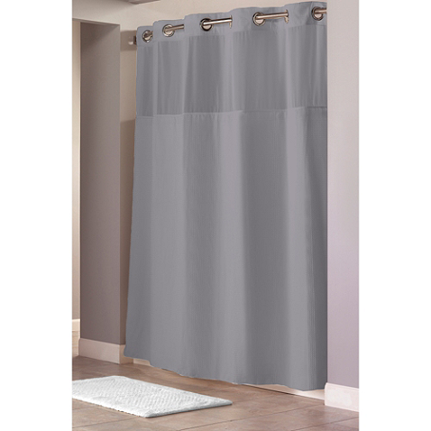 Hookless Waffle 54 Inch X 80 Inch Stall Fabric Shower Curtain And Liner Set In Grey Hookless Shower Curtain