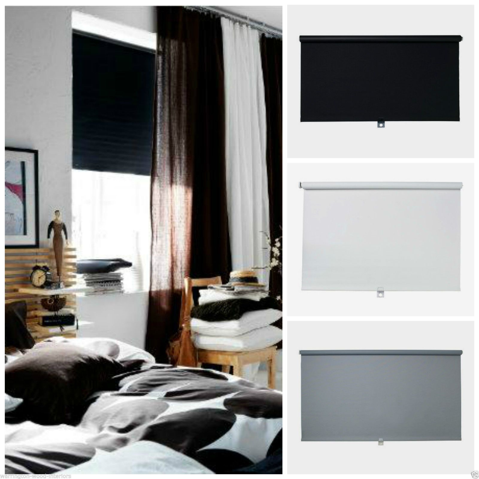 ikea tupplur blackout blind black white or grey. Black Bedroom Furniture Sets. Home Design Ideas