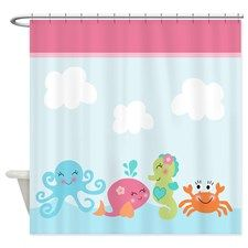 Under The Sea Life Pink Whale Ocean Shower Curtain With Images