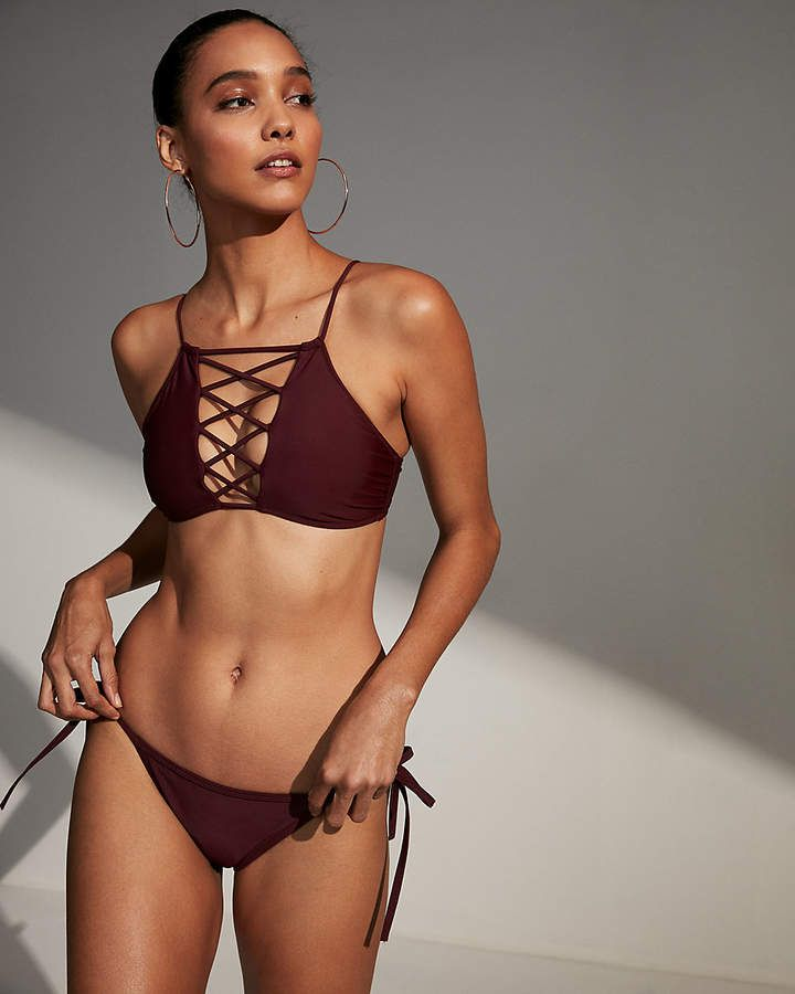 8a06029391230 Express Lace-Up High Neck Bikini Swim Top #High#Lace#Express ...