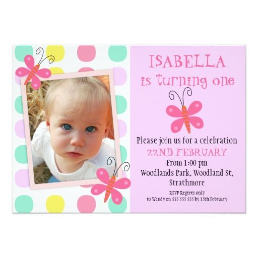 Butterflies 1st Or 2nd Birthday Party Invitation 11 Cm X 16 Card