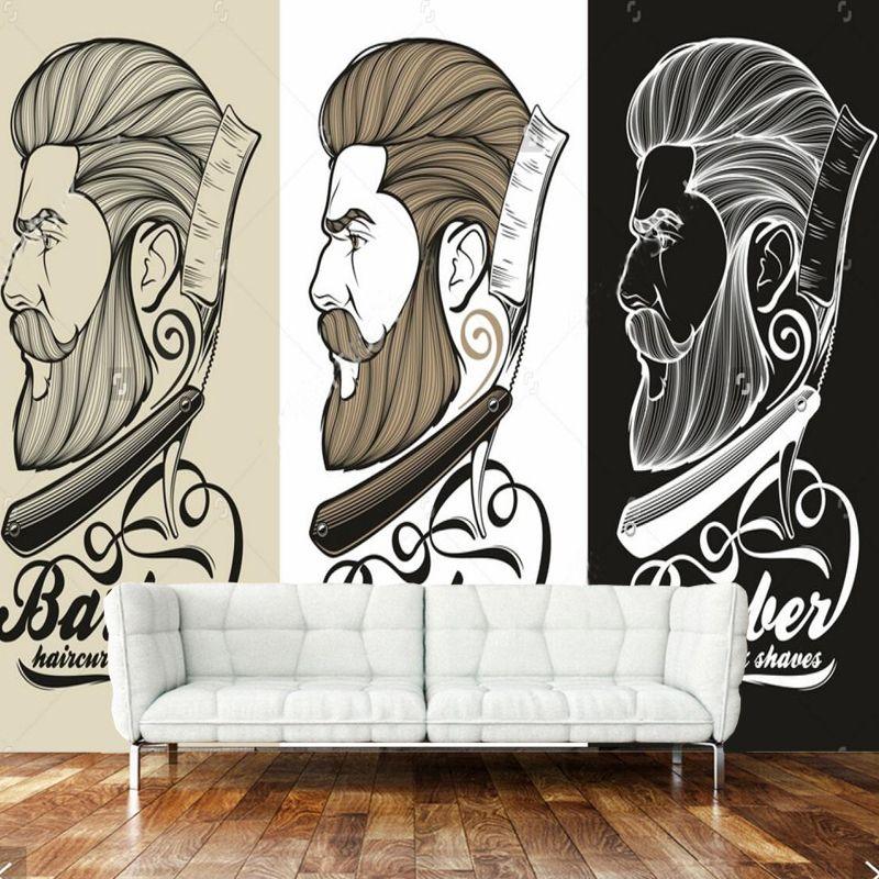 3d Retro Wallpaper Barber Logo Mural For Barber Shop Bedroom Living Room Background Wallpaper Decoration Papel De Parede Retro Wallpaper Wallpaper Decor Mural