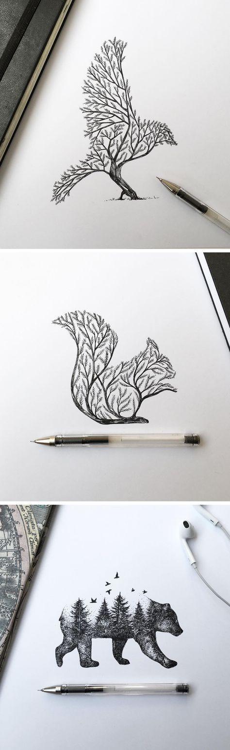 Baumtiere Kreativ Zeichnung Bleistift Zeichnen Und Zeichnen Ideen