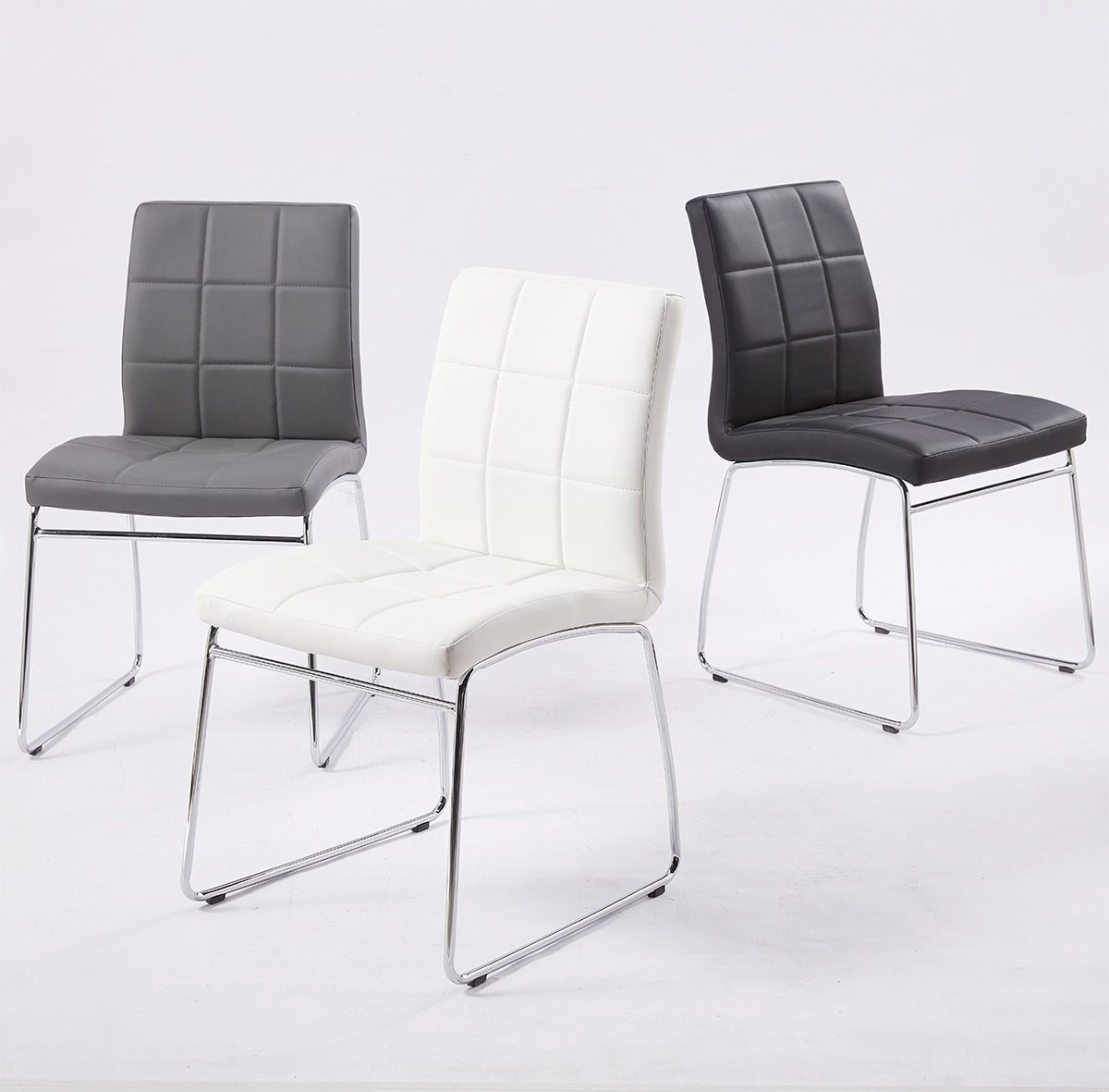 Details About 2 4 6 Dining Chairs Sled Chrome Legs Leather