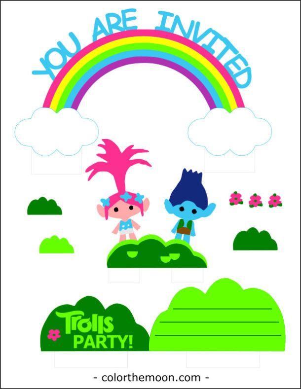 Pop-up Trolls Invitation with Free Printable Trolls birthday - free invitation clipart