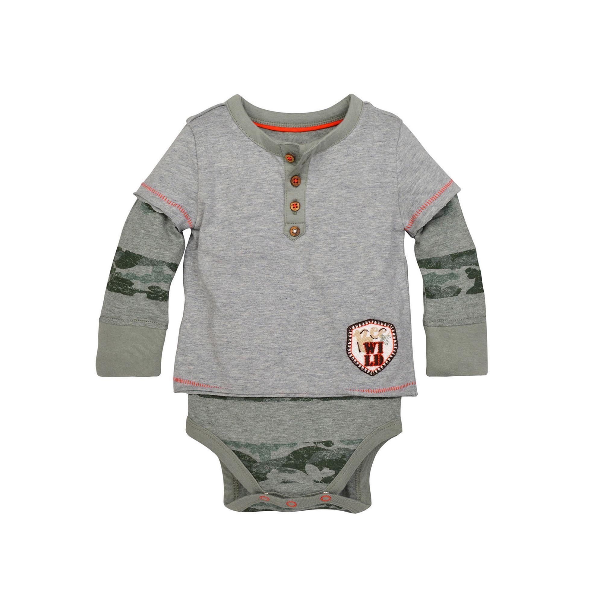 712e1e1d3a0c Baby Boy Burt s Bees Baby Organic 2-in-1 Henley Mock-Layer Tee   Bodysuit  Set