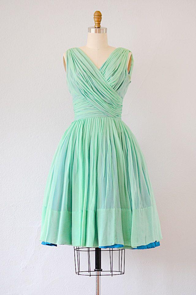 Vintage 1960s Mint Green Dress