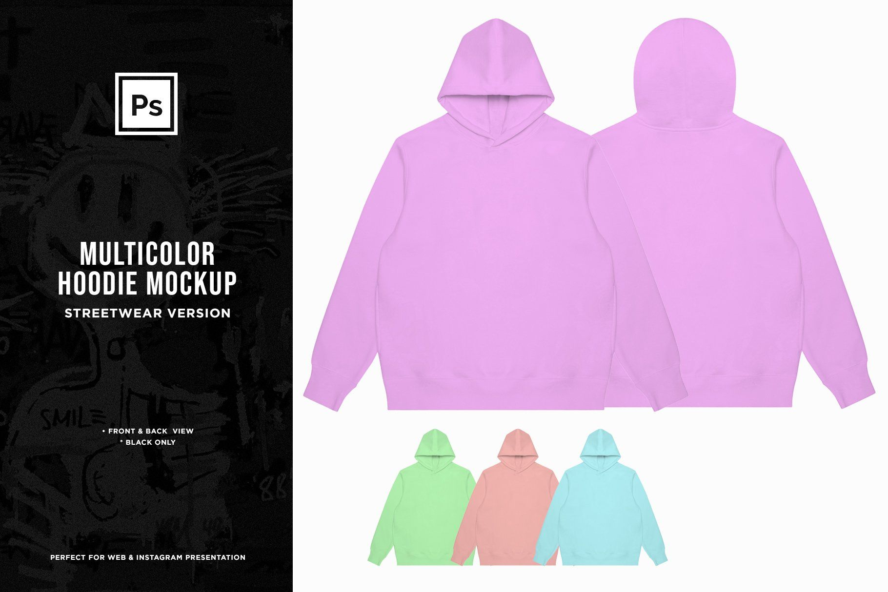 Download Editable Multicolor Hoodie Mockup By Grafiq On Creativemarket