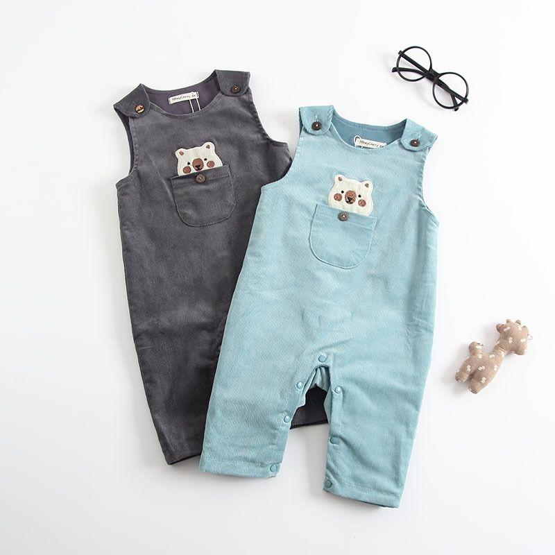 3bddbbefecd2 Toddler Kids Baby Boys Girls Bear Overalls Strap baby rompers ...