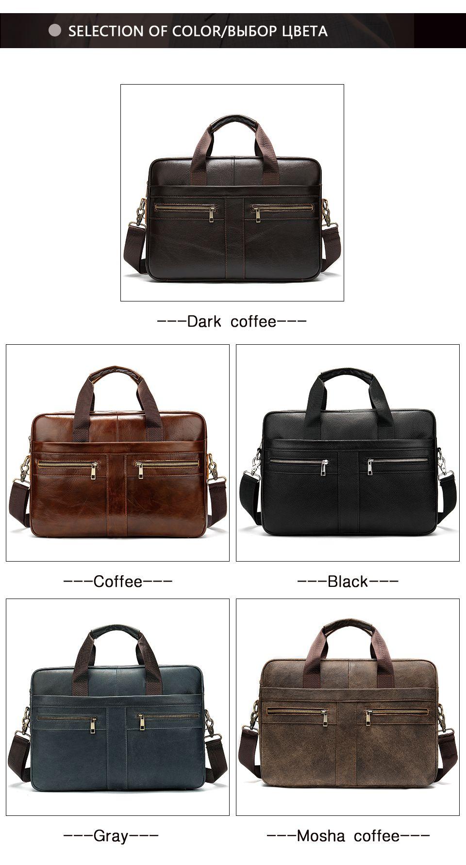 Men Leather Briefcase Business Document Shoulder Bag Black Brown Coffee
