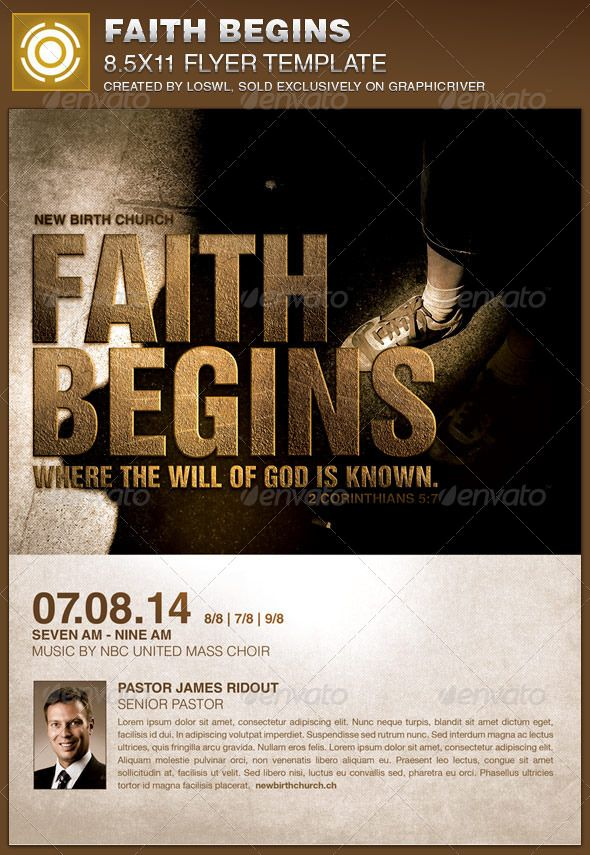 Faith Begins Church Flyer Template  Flyer Template Church Events