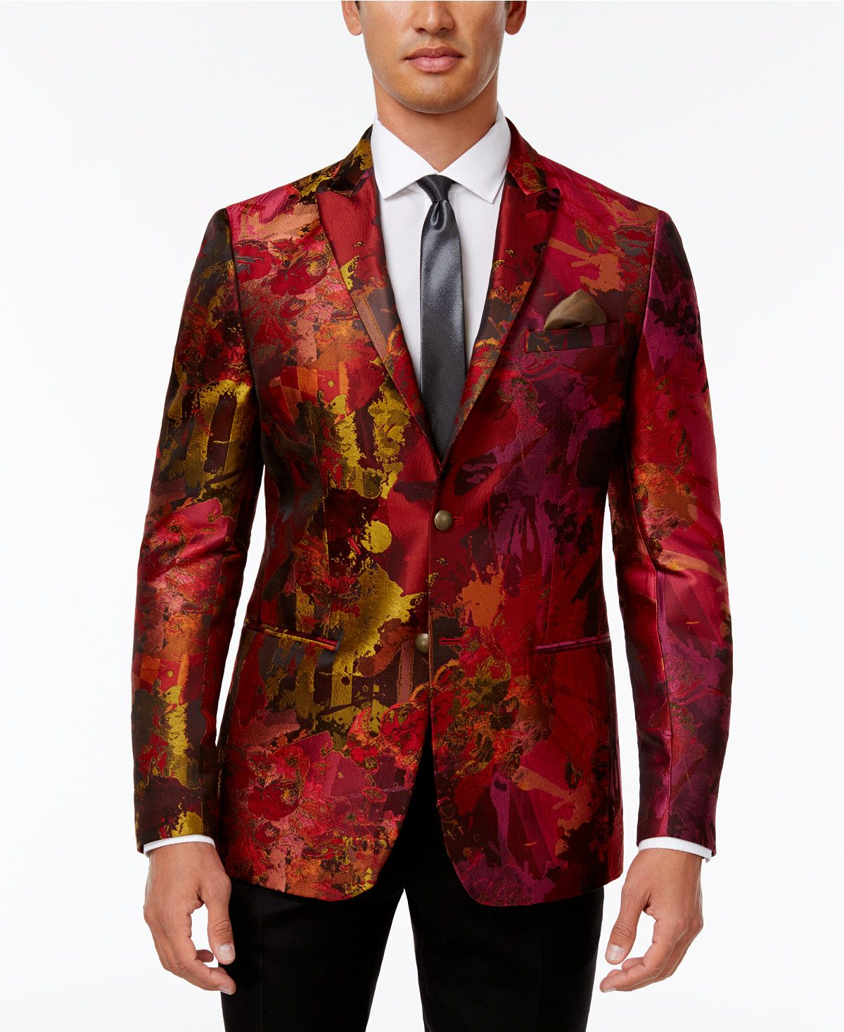 Tallia Men's SlimFit Red/Orange Floral Dinner Jacket