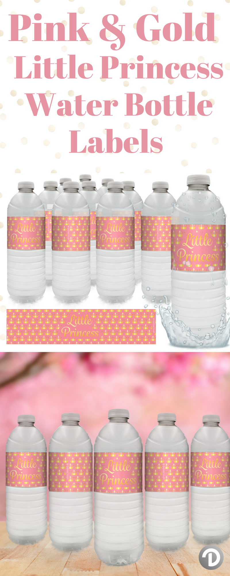 Pink And Gold Little Princess Baby Shower Water Bottle Labels 24
