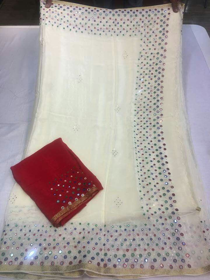 bbd6ba7340 CREP MIRROR WORK SAREES WITH CONTRAST MATERIAL BLOUSE Order what's app  7995736811