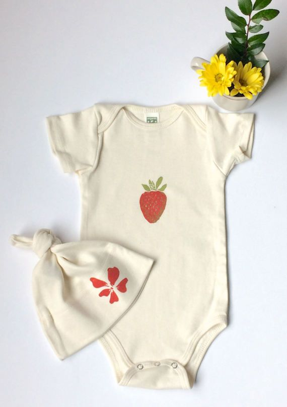 Strawberry Print Organic Onesie And Hibiscus Flower Hat Set Designed