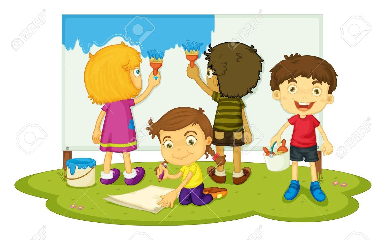 Illustration Of Four Children Painting Stock