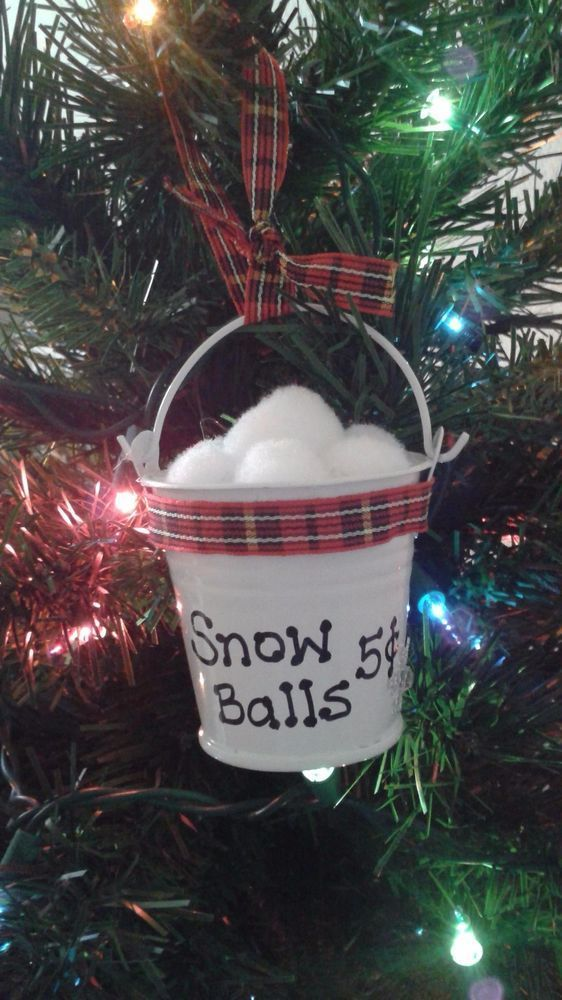 Snow Balls 5 Cents Mini Metal Pail Handmade Christmas Ornament With Plaid Ribbon